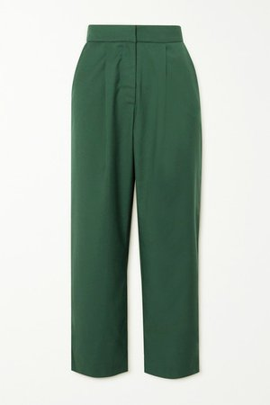 Tate Cropped Twill Straight-leg Pants - Green