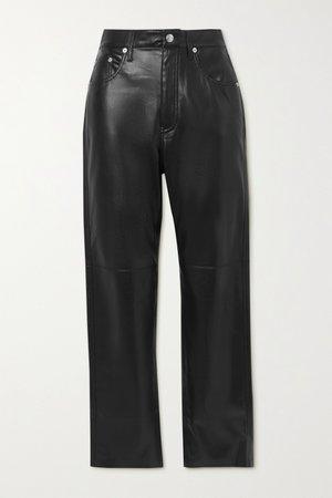 Black Vinni cropped vegan leather pants   Nanushka   NET-A-PORTER
