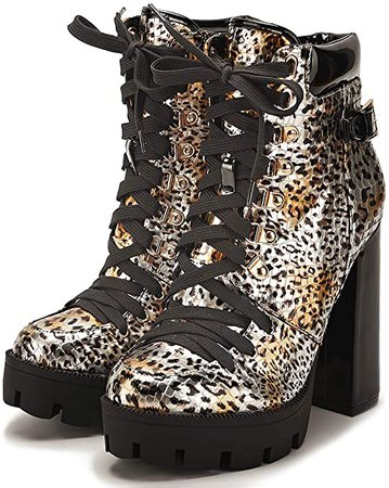 Amazon.com | CAMSSOO Women's Platform Combat Boots Round Toe Chunky Block Heel Boot Lace Up High Heels Ankle Booties Leopard PU Size US5.5 | Ankle & Bootie