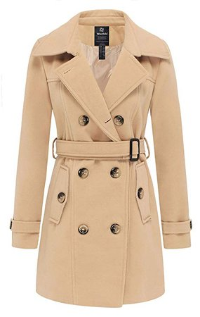 Amazon.com: Wantdo Women's Double Breasted Pea Coat Winter Trench Jacket with Belt: Clothing