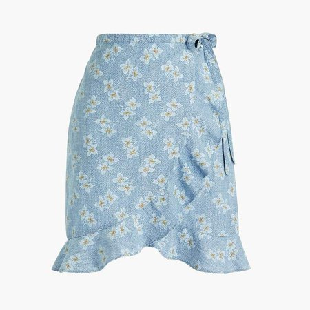 Printed chambray faux-wrap mini skirt