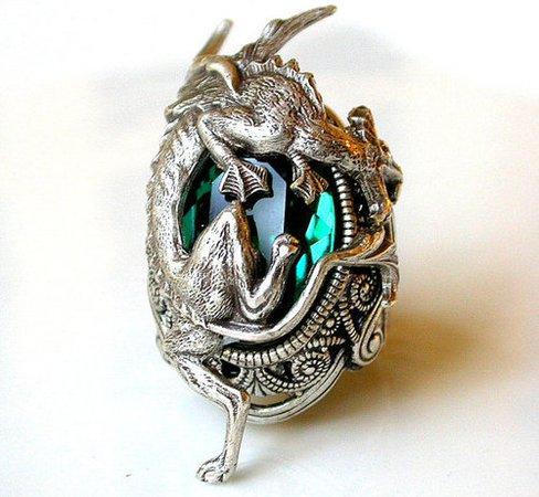 Silver Dragon Ring Emerald Swarovski Gothic Ring by LeBoudoirNoir   silver ring, gothic jewelry ja emerald ring