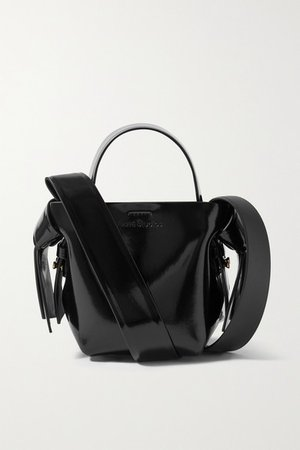Micro Knotted Glossed-leather Shoulder Bag - Black