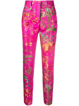Shop pink Etro patterned high-waisted trousers with Express Delivery - Farfetch