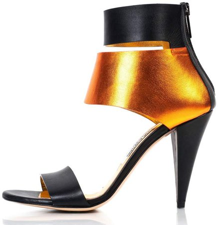 Kim Kwang Metallic Finish Leather Sandals Copper