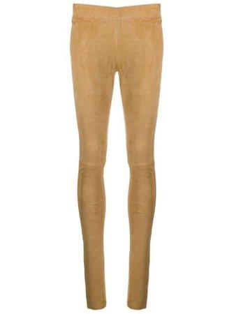 Joseph Suede Stretch Leggings JF004087 Brown | Farfetch
