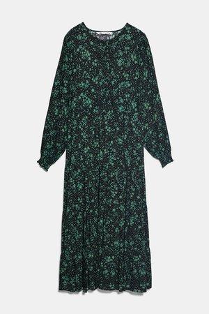 PRINT DRESS   ZARA United States green