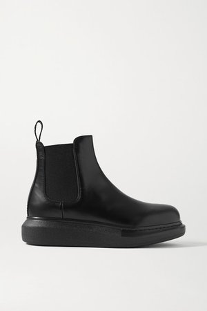 Leather Exaggerated-sole Chelsea Boots - Black