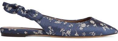Rise Bow-embellished Floral-jacquard Slingback Flats - Navy