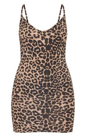 Leopard Print Strappy Plunge Bodycon Dress | PrettyLittleThing USA