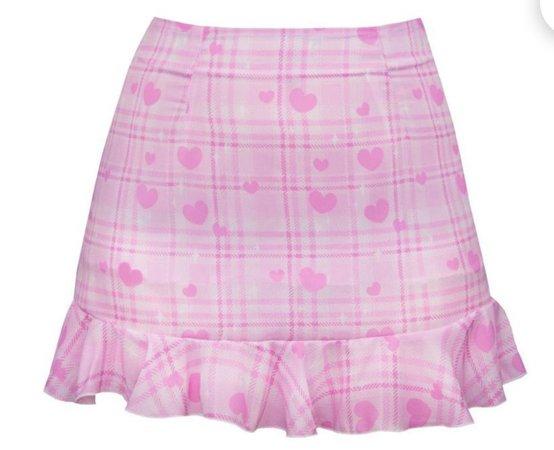 pink heart cute soft mini skirt