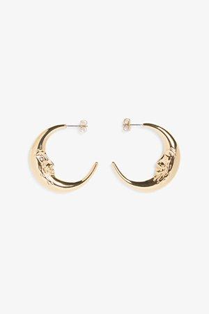 Celestial moon earrings - Gold-coloured - Earrings - Monki WW