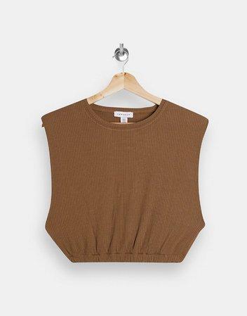 Topshop ribbed shoulder pad tank in tan   ASOS
