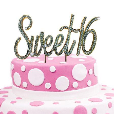JennyGems Sweet 16 Cake Topper - Crystal Rhinestones - 16th Birthday P
