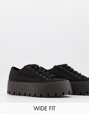 ASOS DESIGN Wide Fit Devoted chunky canvas sneakers in black | ASOS