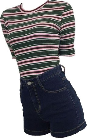 green pink and brown striped shirt with shorts