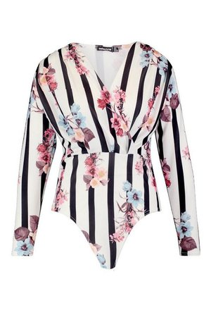 Plus Wrap Floral Bodysuit | Boohoo