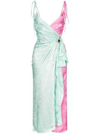 Attico two-tone Jacquard wrap-around Slip Dress - Farfetch