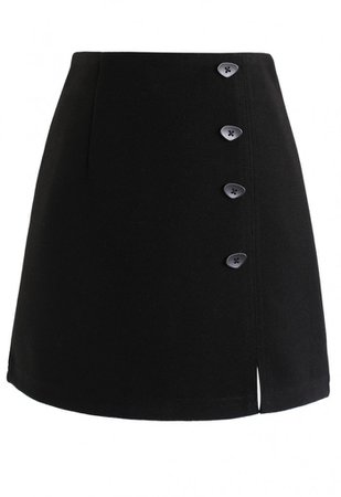 Irregular Button Decorated Wool-Blended Mini Skirt in Black - Skirt - BOTTOMS - Retro, Indie and Unique Fashion