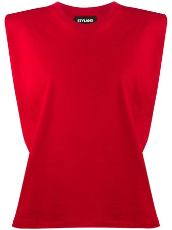 Styland padded shoulder tank top red AWMWT01020020153 - Farfetch