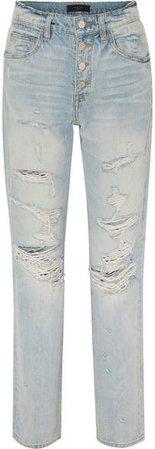 Distressed High-rise Straight-leg Jeans - Indigo