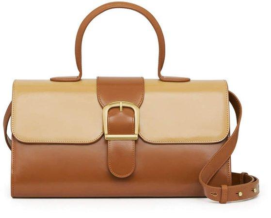 Rylan Large Satchel Two-Tone Leather Shoulder Bag