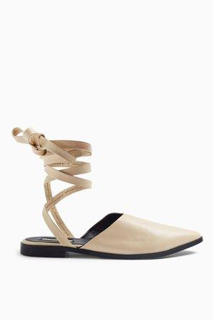 LUNA Ecru Leather Ankle Tie Point Shoes | Topshop
