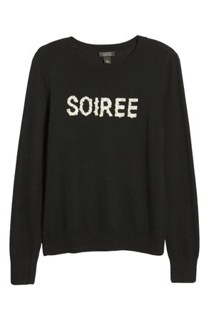 Halogen® x Atlantic-Pacific Soirée Embellished Sweater Holiday Party Christmas