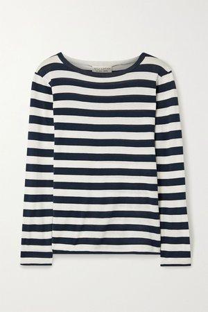 Navy Striped cotton-jersey top | Nili Lotan | NET-A-PORTER