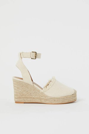 Wedge-heeled Sandals - White
