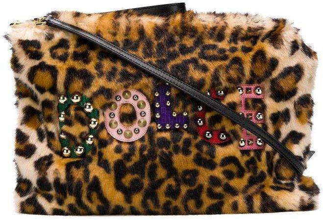 leopard faux fur clutch