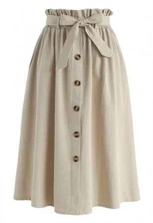 Really Basic A-Line Midi Skirt in Tan - Retro, Indie and Unique Fashion