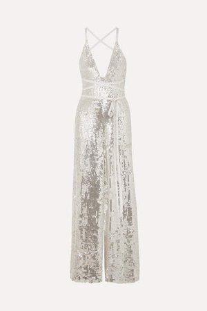 Bardot Sequined Crepe Jumpsuit - Platinum