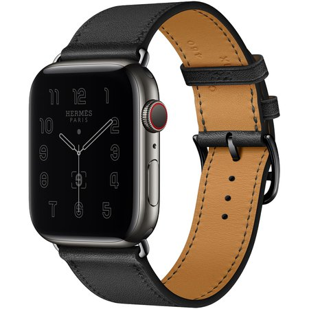 Apple Watch Hermès GPS + Cellular, 44mm Space Black Stainless Steel Case with Noir Single Tour - Apple