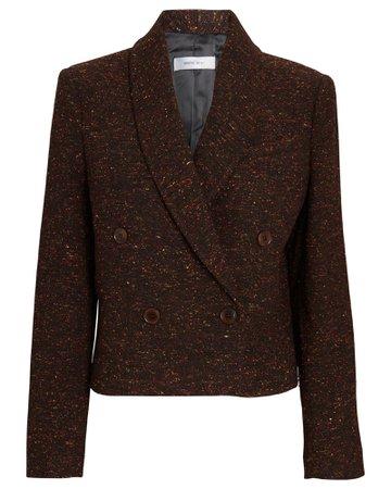 Anine Bing Mae Cropped Tweed Blazer | INTERMIX®