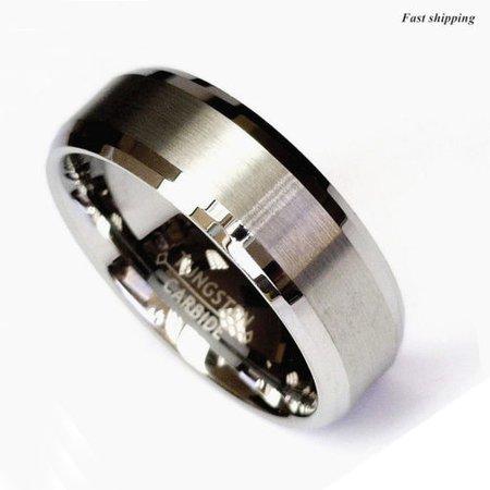 Titanium Color Two Tone Tungsten Carbide Wedding Band Men's Ring Bridal Jewelry | eBay