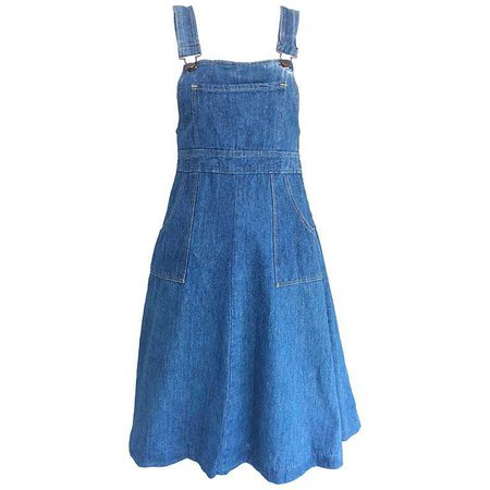Rare Early 1970s The Gap Blue Jean Denim Vintage 70s Overalls Dress For Sale at 1stdibs