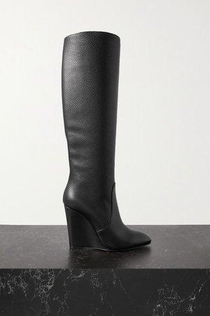 Civiliza 100 Textured-leather Wedge Knee Boots - Black