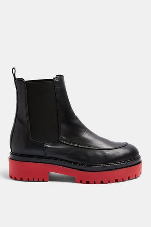 ALONZO Black and Red Chunky Leather Boots | Topshop