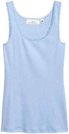 Tank Top with Lace - Blue