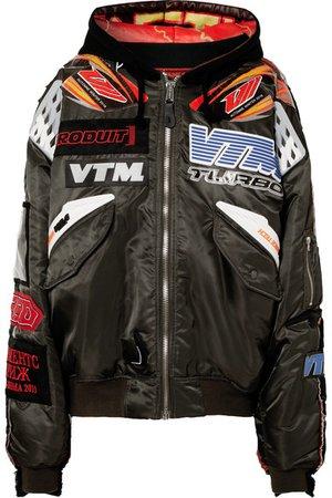 Vetements Alpha Industries oversized distressed embellished shell bomber jacket