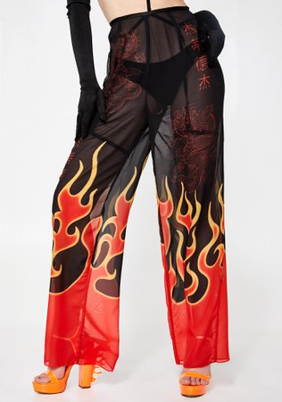 Jaded London Flame Print Beach Trousers | Dolls Kill