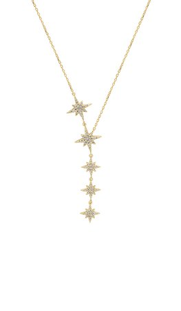 SHASHI Starburst Lariat Necklace in Yellow Gold | REVOLVE