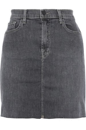 Lyla frayed faded denim mini skirt   J BRAND   Sale up to 70% off   THE OUTNET