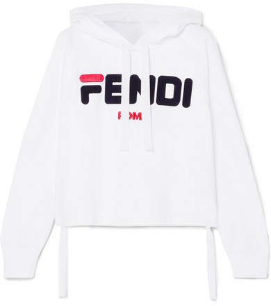 Fila Embroidered Cotton-jersey Hoodie - White
