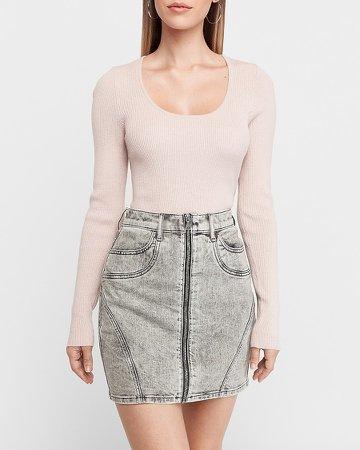 High Waisted Acid Wash Zip Front Denim Skirt