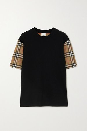Checked Poplin And Cotton-jersey T-shirt - Black