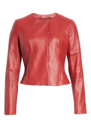 BOSS Sabarbie Crop Leather Jacket | Nordstrom