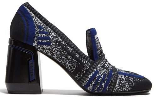 Block Heel Logo Jacquard Loafers - Womens - Navy