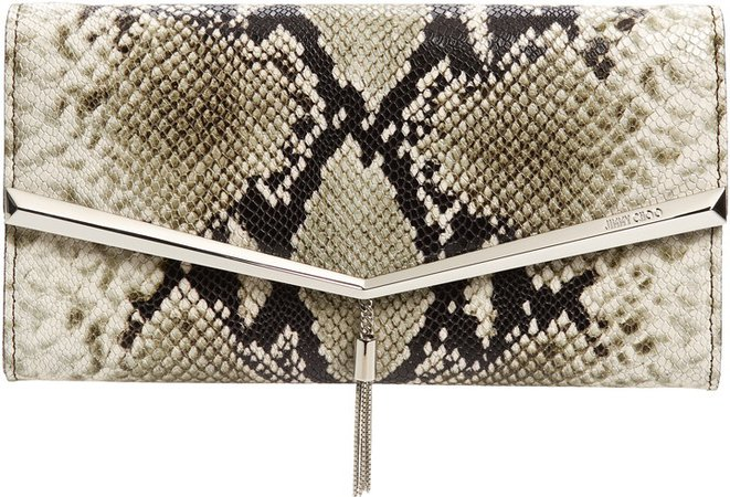 Elish Snake Embossed Leather Clutch